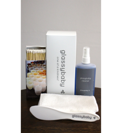 glassybaby cleaning kit with scraper, glass cleaner, matches and microfiber cloth