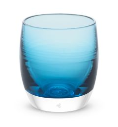 hand-blown crystal blue glass votive candle holder