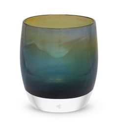 hand-blown dark green glass votive candle holder with touch of yellow