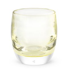 hand-blown crystal yellow glass votive candle holder