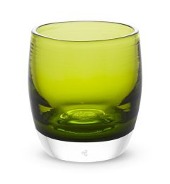 hand-blown yellow green glass votive candle holder