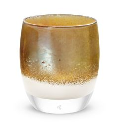 hand-blown golden white glass votive candle holder