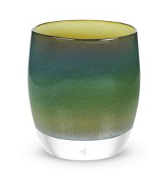 hand-blown shaded green glass votive candle holder