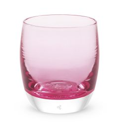 hand-blown light pink glass votive candle holder