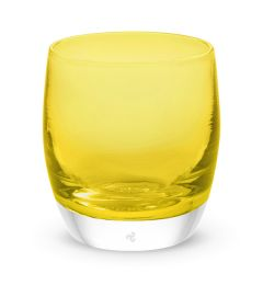 hand-blown clear yellow glass votive candle holder