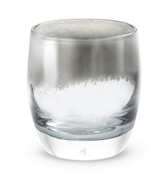 hand-blown bold silver glass votive candle holder