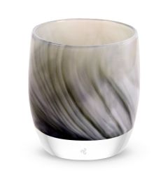 hand-blown black white glass votive candle holder