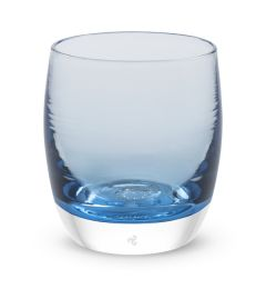 hand-blown clear light blue glass votive candle holder