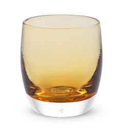 hand-blown light amber glass votive candle holder