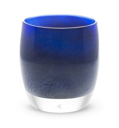 hand-blown midnight blue glass votive candle holder